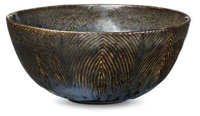 Axel Salto, 'Circular stoneware bowl, exterior modelled in fluted style. Decorated with butterfly wing glaze.'