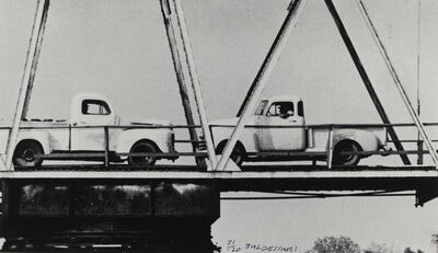 John Baldessari, 'Two Trucks/Two Decisions (on bridge)', 1996