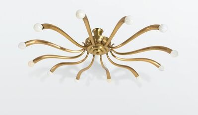 Attributed to Guglielmo Ulrich, 'a 12-arm ceiling lamp with a brass structure', ca. 1950