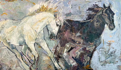 "Jylian Gustlin, '""Equus by Jylian + Dave Gustlin"" Mixed media painting of two horses, one black one white', 2019"