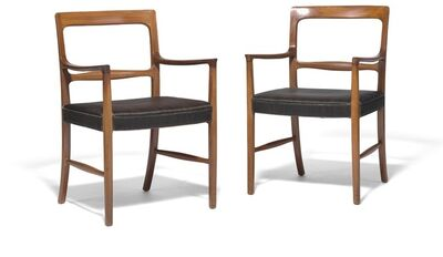 Ole Wanscher, 'A pair of mahogany armchairs. Seat upholstered with black/brown horsehair with black leather edgings.'