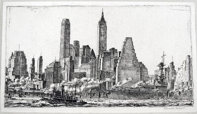 Reginald Marsh, 'Skyline from Pier 10, Brooklyn, first state', 1931