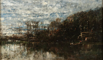 William Louis Sonntag, 'Landscape with Lake, Canoe, and Cottage'