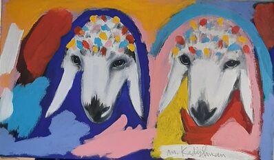 Menashe Kadishman, '2 Sheep Heads',  2000