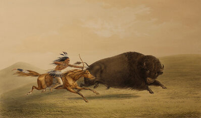 George Catlin, 'Buffalo Hunt, Chase', 1844