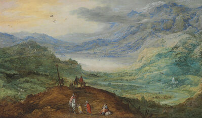 Joos de Momper II and Jan Breughel II, 'An extensive mountainous landscape with figures on a path, a river valley beyond'