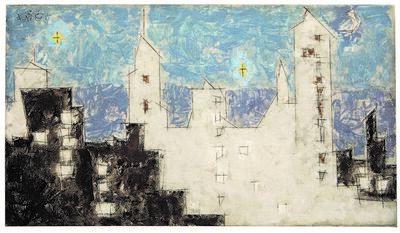Lyonel Feininger, 'Architektur mit Sternen II', 1945