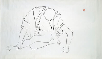 "Isamu Noguchi, 'Peking Scroll Drawing:  ""Ye Kau Jong"" (robed man, sitting cross legged, resting on fist)', 1930"