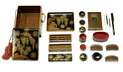 Unknown Artist, 'A Handy Box (Tebako) Containing Toiletries with Travelling Writing Utensils', Edo period