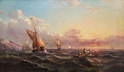 John James Wilson, 'Sailing Ships at Sunset off Dover Coast, UK', ca. 1860