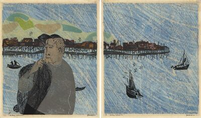 Antonio Frasconi, 'Monterey Fisherman 1 [and] Monterey Fisherman 2.  [Diptych.]', 1951