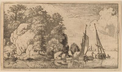 Allart van Everdingen, 'Two Boats on a Wide River', probably c. 1645/1656