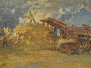 """Vasily Leontevich Martynov, 'Sketch """"Cleaning the grain""""', 1915"""