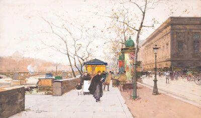 Eugène Galien-Laloue, 'Paris, le quai du Louvre et le Pont des Arts'