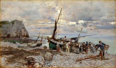 Giovanni Boldini, 'Return of the Fishing Boats, Étretat', 1879