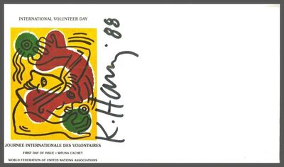 Keith Haring, 'International Volunteer Day (Journee Internationale Des Voluntaires) Hand Signed & Dated First Day Cover', 1988