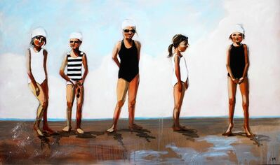 "Debbie Miller, '""Toe the Line"" Oil painting of five girls lined up in Black and White Bathing Suits', 2010-2018"