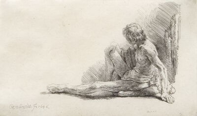 Rembrandt van Rijn, 'Nude Man Seated on the Ground', 1646