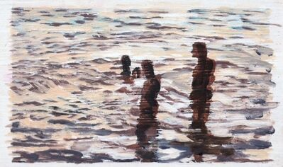 "Carol Bennett, '""Listening"" black and white abstract oil painting of figures in the water', 2017"