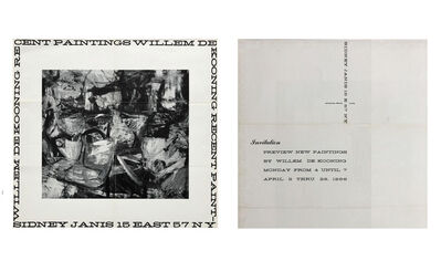 "Willem de Kooning, '""WILLEM DE KOONING RECENT PAINTINGS-SIDNEY JANIS 15 EAST 57 NY"", Exhibition Invitation/Poster', 1956"