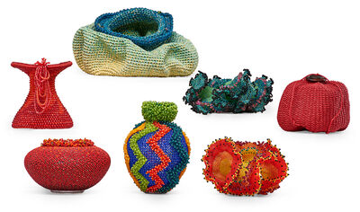 David Chatt, 'Two vessels by David Chatt, two Seaforms by Wendy Ellsworth, one vessel by Barbara Jeanne Rice, one woven vessel by Risa Benson, and another woven vessel by Nancy Moore Bess, USA', 1990s-2000s