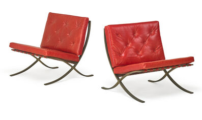 Ludwig Mies van der Rohe, 'Pair of Barcelona chairs', des. 1929