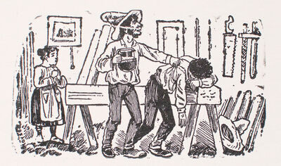 José Guadalupe Posada, 'A man with a pitcher in his hand tapping the shoulder of another man resting on wooden beam', 1880-1910