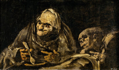 Francisco de Goya, 'Two Old Men Eating. One of the Black Paintings from the Quinta del Sordo, Goya's House', 1819-1823