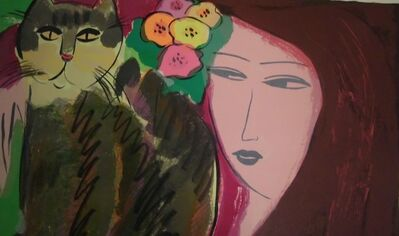 Walasse Ting 丁雄泉, 'Cat And Beauty', 1985