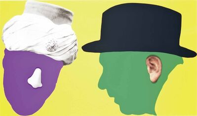 John Baldessari, 'Two Profiles, One with Nose and Turban; One with Ear and Hat, from Noses & Ears, Etc.: The Gemini Series', 2006