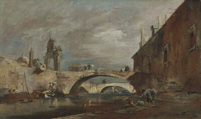 Francesco Guardi, 'Capriccio with bridges over a canal'