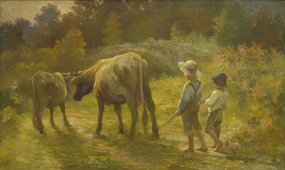 """Adam Emory Albright, 'Two Boys with Cows """"Coming Home""""', n/d"""