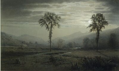 William Trost Richards, 'Moonlight on Mount Lafayette, New Hampshire', 1873