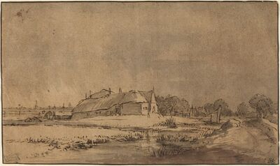 Rembrandt van Rijn, 'Cottages and Barn beside a Road', ca. 1650