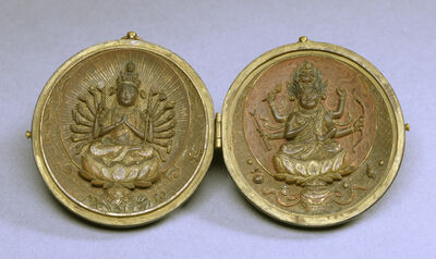 'Locket with Two Buddhist Deities', 13th century
