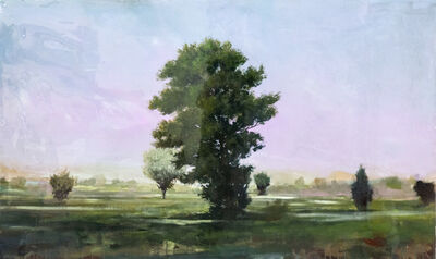 Peter Hoffer, 'Course - green, mauve, pink, impressionist, tree, acrylic, resin on panel', 2020
