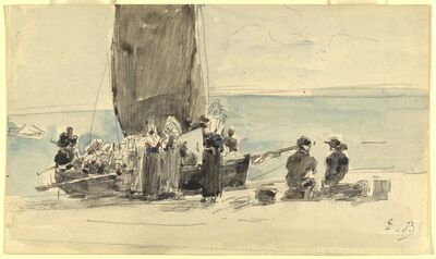 Eugène Boudin, 'Loading the Boats', ca. 1875
