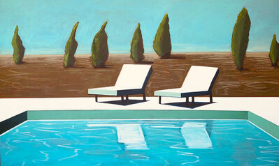 Melissa Chandon, 'Pool with Trees and Chairs', 2019