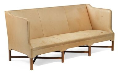 Kaare Klint, 'Freestanding three seater sofa on eight-legged, profiled mahogany cross-frame. Sides, seat and back upholstered with natural leather.'
