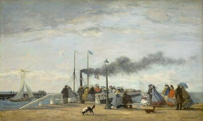 Eugène Boudin, 'Jetty and Wharf at Trouville', 1863
