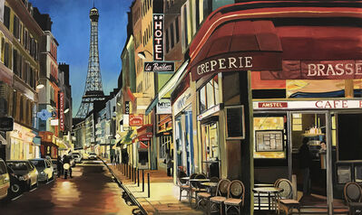 Angela Wakefield, 'Parisian Café with Eiffel Tower, Paris, France', 2018