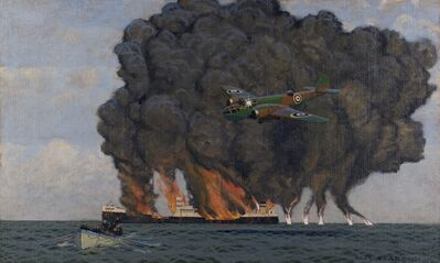 Charles Pears, 'Dutch Bomber sets fire to German oil tanker', 1940