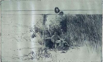Robert Birmelin, 'Man In Field With Dogs', 20th Century