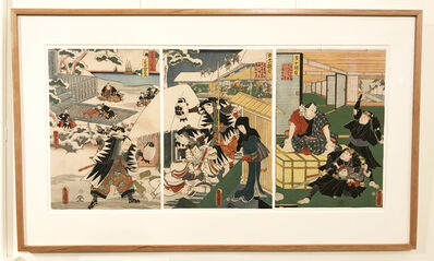 Utagawa Toyokuni III (Utagawa Kunisada), 'Twelve Continuous Acts of  the Storehouse of Loyal Retainers: Acts 10, 11, and 12', 1860