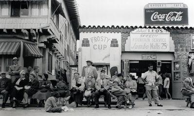 Larry Silver, 'Boardwalk Bench Spectators, Muscle Beach, California', 1954