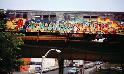 Charlie Ahearn, 'Dondi, Zephyr & Charlie Ahearn 'Heroin Kills' graffiti photograph: Bronx, NY 1981 ', (printed later)