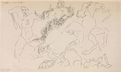 Harold Town, 'Warrior Being Hauled From Horse', 1958