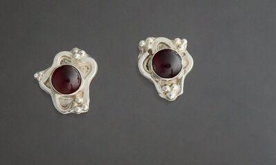 Kathy Marie Anderson, 'Sterling Silver Squiggle Trim Garnet Earrings', 2000-2019