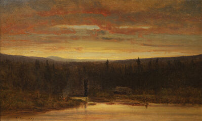 George Inness, 'Campfire at Sunset', 1867