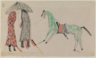Unknown Cheyenne Artist, 'Ledger Drawing, Courting Scene', ca. 1865